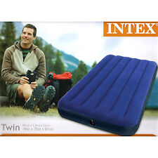 Intex Twin Classic Downy Inflatable Air Bed Single Mattress Sleeping Pad Camping