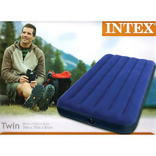 Intex Twin Classic Downy Inflatable Air bed Single Mattress Sleeping Camping