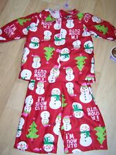 Size 12 Months Carters Flannel Pajamas Set Top Pants Red Holiday Snowman New