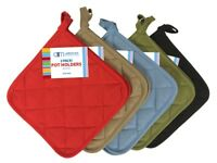 2 Pack Quilted Pot Holders 5 Colors (Green, Blue, Black, Red, or Tan) Brand New