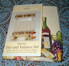 WINE GRAPES Kitchen Curtains Tier & Valance Set Merlot Grapes Window Curtain Set