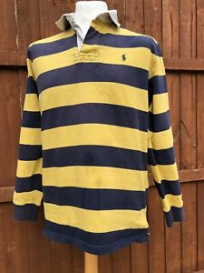 POLO RALPH LAUREN STRIPED LONG SLEEVE RUGBY POLO SHIRT SIZE LARGE CUSTOM FIT