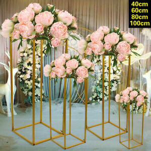 4Pcs Gold METAL Wedding FLOWER STAND WEDDING AISLE DECOR FLORAL DISPLAY