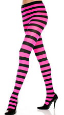 Opaque Black Wide Horizontal Stripe Tights Neon Rave Pantyhose Costume M-XL USA