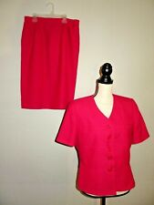 Atrium Collection Womens Size 12 Fushia Pink Short Sleeve Career Skirt Suit