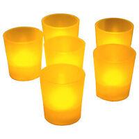6 Led Amber Tea Light Votive Flameless Battery Candles Wedding Party Romantic
