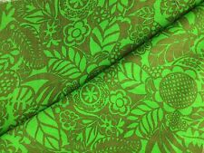 Vintage Linen Fabric Green Brown Woodblock Look 44 x 119 Inches