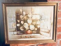 Authentic Vintage Lovely Oil On Canvas Still Life Of Flowers In Vase By T Hansen