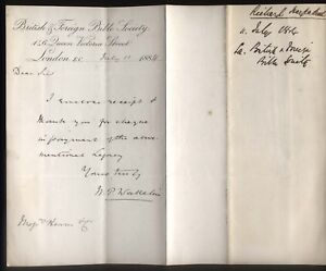 1884 LONDON, BRITISH & FOREIGN BIBLE SOCIETY, 146, QUEEN ST. REPLY LETTER