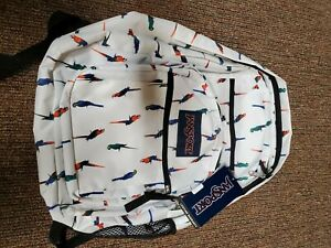 JanSport  Big Student Unisex Backpack White with Macaws - NWT JS00TDN743Q