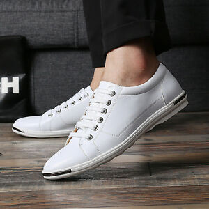 New Men's Casual Leather Shoes England Oxford Breathable Loafers Lace-up Walking