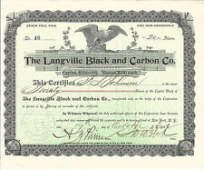 New York The Langville Black & Carbon Company Stock Certificate 1894 #48