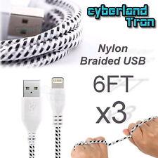 3x Premium Nylon USB Cable White iPhone SE 6s Plus 6 5s Data Sync Charger Cord