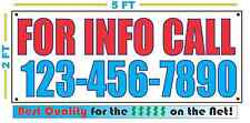 FOR INFO CALL w CUSTOM PHONE Banner Sign NEW Larger Size Best Quality for The $$