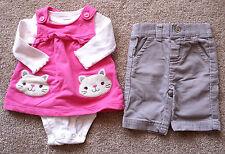 Girl's Size NB Newborn 3 Piece Pink Kitten Carter's Dress, Top & Corduroy Pants