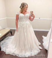 Plus Size Lace Tulle Appliques Cap Sleeve Wedding Dresses Bridal Gowns Custom
