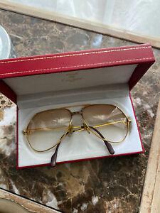 Vintage Cartier Vendome Santos sunglasses gold plated case extra lenses 1983