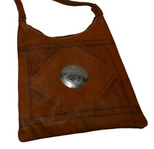 Moroccan Handbag Carved Leather Evening Shoulder Strap Bag iPad-Purse Brown