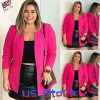 Women Blazer Long Sleeve Tops Ladies Work Office Formal Suit Jacket Plus Size US