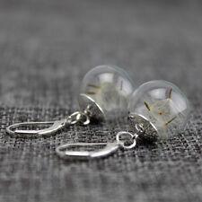 1 Pair Dandelion Glass Ball Earrings Innovative Eardrop Jewelry Accessories