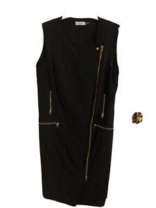 Calvin Klein black sleeveless zip front moto sheath dress New without tags