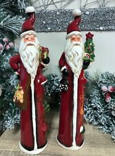 Hand Painted Traditional Ceramic Tall Father Christmas Holding Tree or Gift 7125