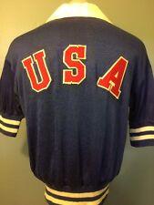 Vtg 40s 50s USA Durene Knit Jersey Mens L Olympic Warmup Track Basketball Shirt
