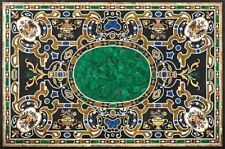 "60"" x 42"" Pietra Dura Handicraft Inlay Work Marble Dining Table Top"