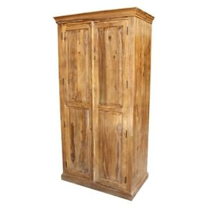 Classic Evergreen Sheesham Wood Rosewood Cabinet With 2 Shelves Natural