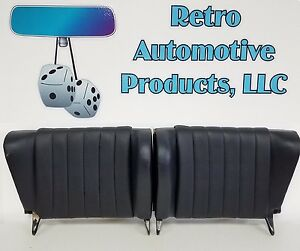 USED PAIR ORIGINAL PORSCHE 911 912 REAR SEAT BACKS DARK BLUE LEATHERETTE