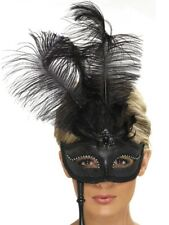 Black Opera Eye Mask + Stick Ladies Feather Burlesque Fancy Dress Accessory