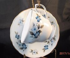 Colclough 8242 Cup & Saucer, Blue/Gray Floral, Scalloped Edges, Gold Trim