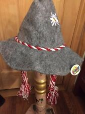 German Bavarian Oktoberfest Gray Edelweiss Hat with Braids