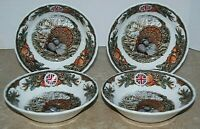 4 Queen's Harvest Bounty Oatmeal Cereal Bowls England Turkey Thanksgiving NEW
