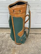 "New listing Vintage Burton Golf Bag – Brown Leather  & Green Canvas 6 Way Divider 36""H"