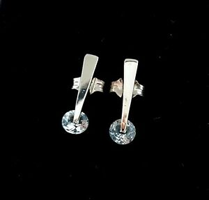 Vintage Sterling Silver 925 Post Studs Earrings with Blue Topaz