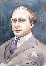 Czeslaw Mystkowski 1898-1938 Jakarta Bali / Aquarell Herrenporträt Paris 1927