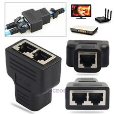 RJ45 CAT5 6 Adapter Ethernet Cable LAN Port 1 to 2 Socket Splitter Connector PC