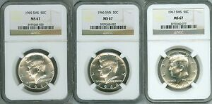 1965 1966 1967 SMS NGC MS67 3-COIN SET, JFK HALF DOLLAR KENNEDY 50c, ICE WHITE!