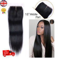 "18"" Hair Parting Top Closure Brazilian Virgin Remy Human Hair Swiss Lace 4x4"" UK"