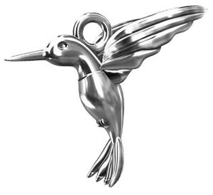 1 STERLING STERLING SILVER HUMMINGBIRD CHARM / PENDANT + CLOSED RING, 15 X 14 MM