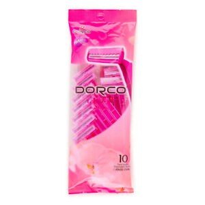10 Pack Dorco Women's Disposable Razors Twin Blade Pink w Lubricant Strip