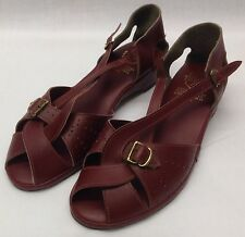 Vintage 'Trufit' Original Burgundy Strappy Peeptoe Wedge Sandals with Cut Outs.