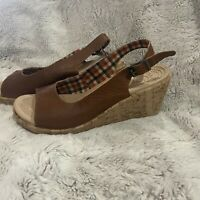 Crocs Brown Leather Sandals Open Toe Cork Platform Wedge Slingback W Size 10 EUC