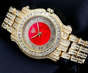 Fully Iced Men Gold Red Watch Bling Rapper Simulate Lab Diamond Luxury Band Rich