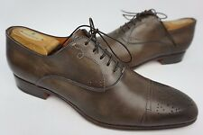 Santoni Stafford Cap Toe Oxford Dark Brown Calf Leather Shoes Size 10 D $795