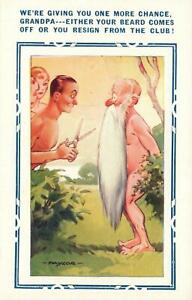 VINTAGE RUDE COMIC BAMFORTH Grandpa in Nudist Colony Must Cut Beard POSTCARD