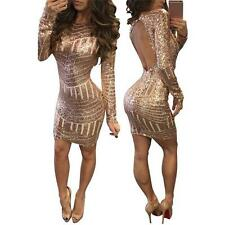 Women Sexy Backless Long Sleeve Sequin Bodycon Evening Party Cocktail Mini Dress