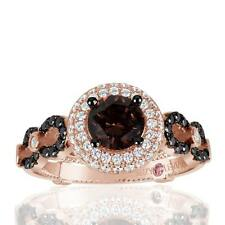 Suzy Levian Bridal Sterling Silver Brown and White Cubic Zirconia Engagement Rin