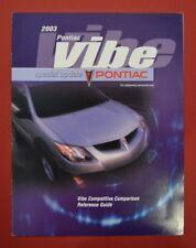 2003 PONTIAC VIBE COMPETITIVE COMPARISON BROCHURE